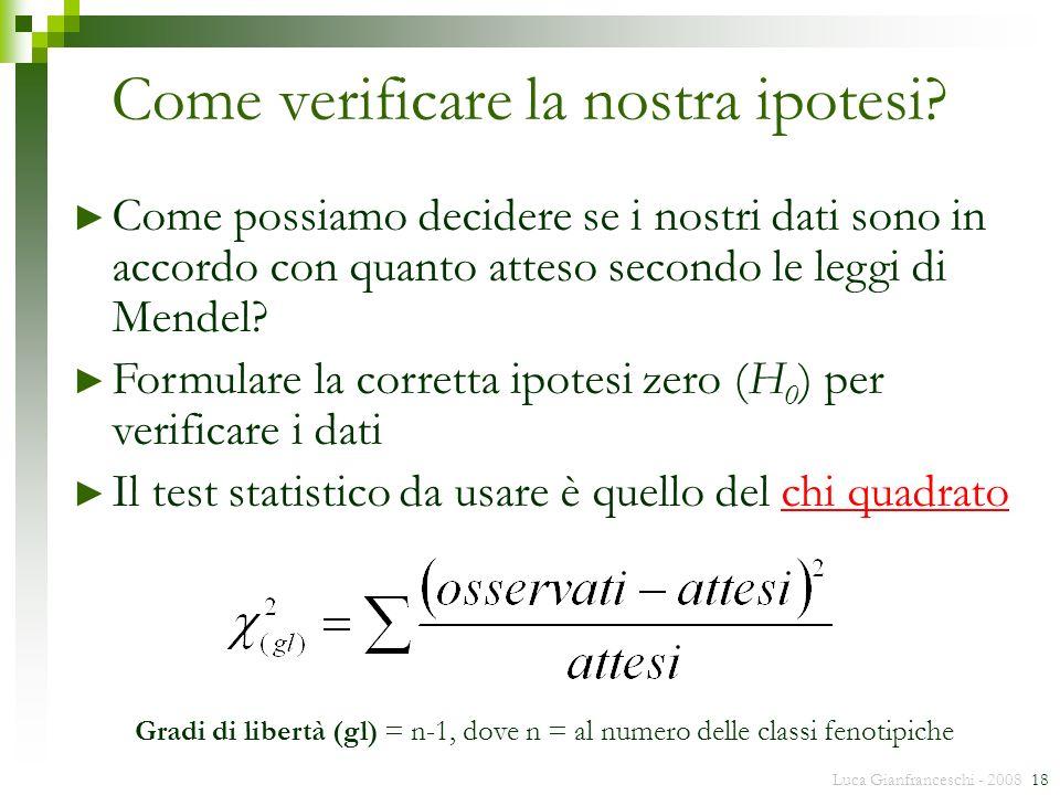 Luca Gianfranceschi - 2008 18 Come verificare la nostra ipotesi? Come possiamo decidere se i nostri dati sono in accordo con quanto atteso secondo le