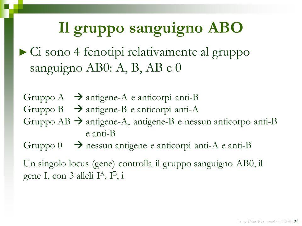 Luca Gianfranceschi - 2008 24 Il gruppo sanguigno ABO Ci sono 4 fenotipi relativamente al gruppo sanguigno AB0: A, B, AB e 0 Gruppo A antigene-A e ant