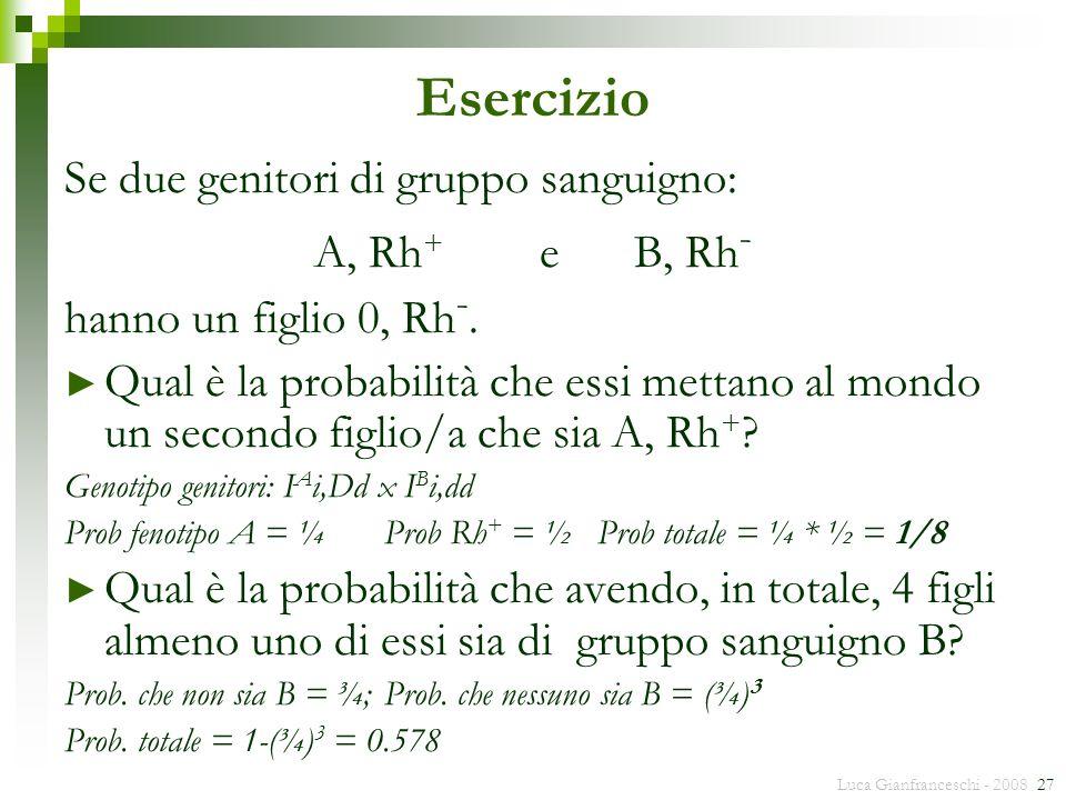 Luca Gianfranceschi - 2008 27 Esercizio Se due genitori di gruppo sanguigno: A, Rh + e B, Rh - hanno un figlio 0, Rh -. Qual è la probabilità che essi
