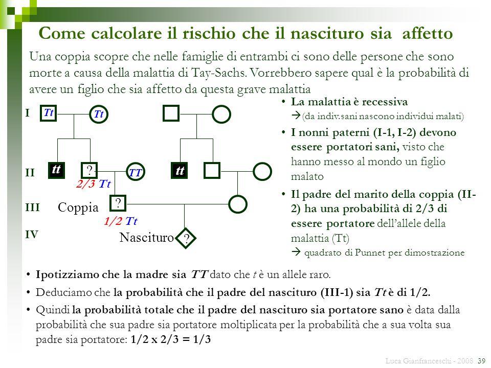 Luca Gianfranceschi - 2008 39 Come calcolare il rischio che il nascituro sia affetto ? tt TT Tt Coppia Nascituro ? ? I II III IV Una coppia scopre che