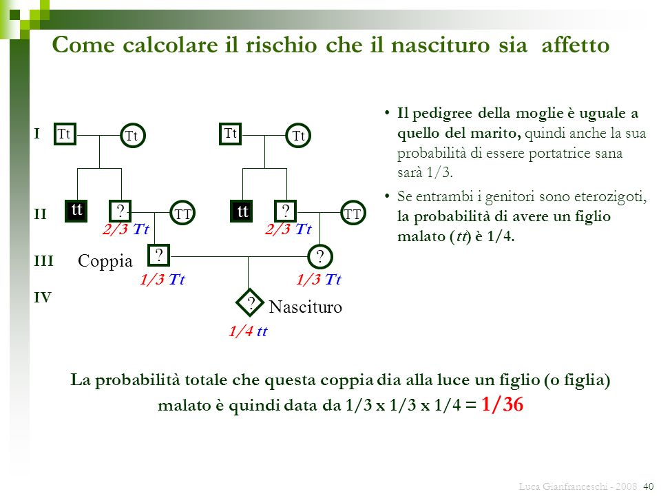 Luca Gianfranceschi - 2008 40 ? tt TT Tt Coppia Nascituro TT Tt ? ? ? ? I II III IV 2/3 Tt 1/3 Tt Come calcolare il rischio che il nascituro sia affet