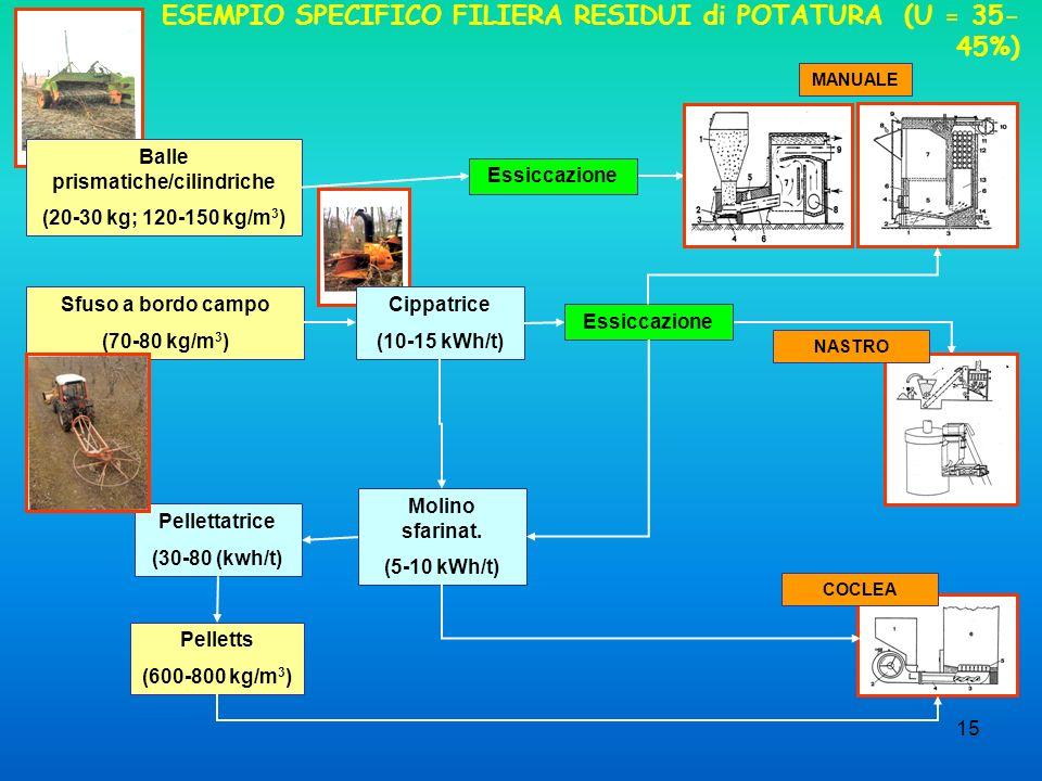 15 ESEMPIO SPECIFICO FILIERA RESIDUI di POTATURA (U = 35- 45%) Balle prismatiche/cilindriche (20-30 kg; 120-150 kg/m 3 ) Sfuso a bordo campo (70-80 kg