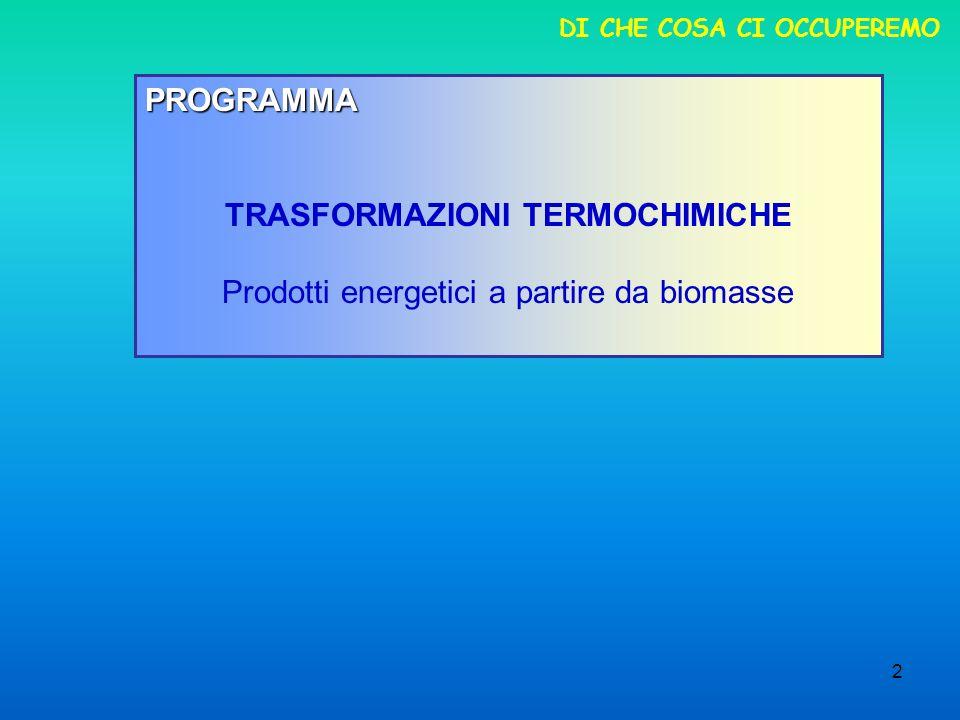 2 DI CHE COSA CI OCCUPEREMO PROGRAMMA TRASFORMAZIONI TERMOCHIMICHE Prodotti energetici a partire da biomasse
