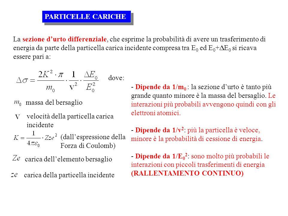 La sezione durto differenziale, che esprime la probabilità di avere un trasferimento di energia da parte della particella carica incidente compresa tr