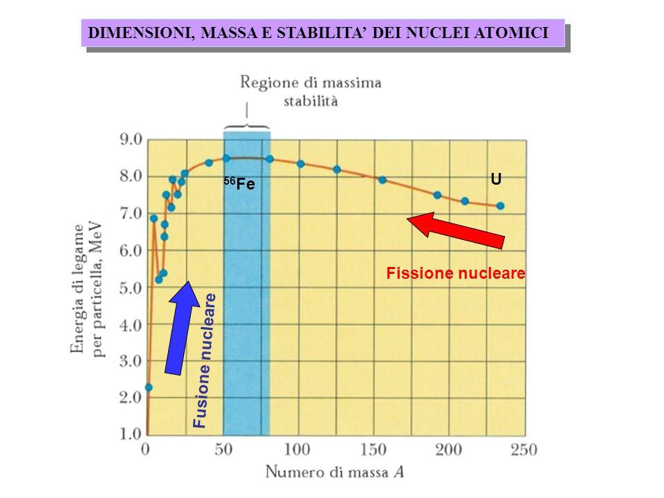 DIMENSIONI, MASSA E STABILITA DEI NUCLEI ATOMICI Fusione nucleare Fissione nucleare U 56 Fe