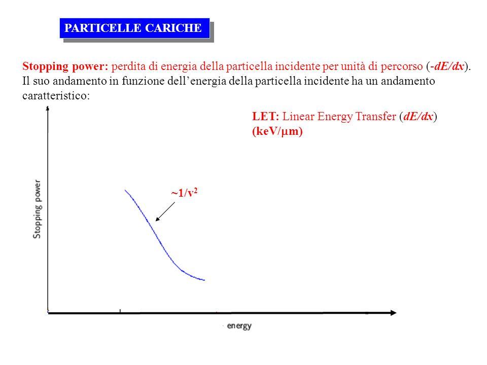 Stopping power: perdita di energia della particella incidente per unità di percorso (-dE/dx). Il suo andamento in funzione dellenergia della particell