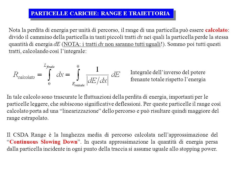 Nota la perdita di energia per unità di percorso, il range di una particella può essere calcolato: divido il cammino della particella in tanti piccoli