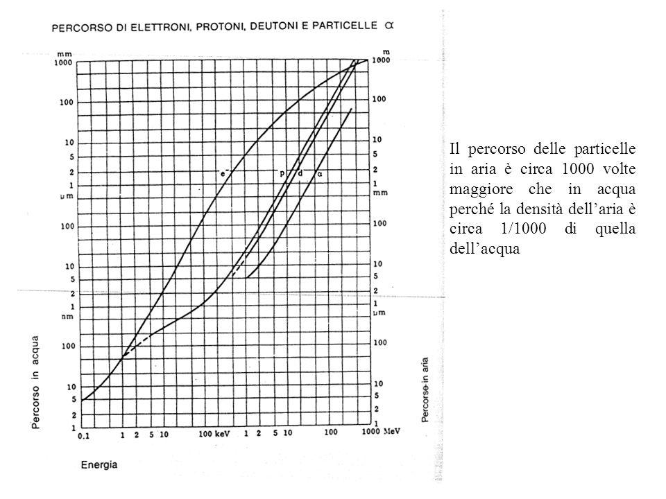 Il percorso delle particelle in aria è circa 1000 volte maggiore che in acqua perché la densità dellaria è circa 1/1000 di quella dellacqua