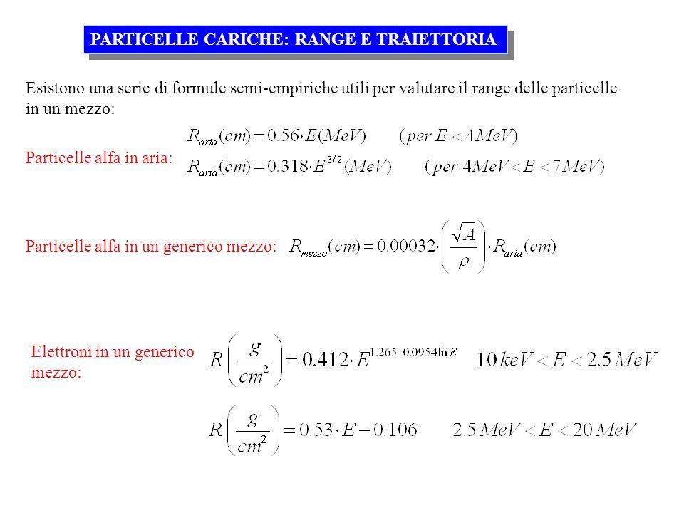 Esistono una serie di formule semi-empiriche utili per valutare il range delle particelle in un mezzo: PARTICELLE CARICHE: RANGE E TRAIETTORIA Partice