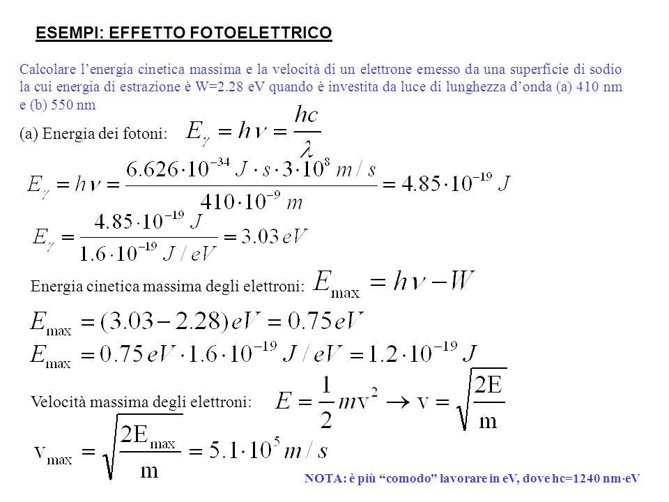 Calcolare lenergia cinetica massima e la velocità di un elettrone emesso da una superficie di sodio la cui energia di estrazione è W=2.28 eV quando è