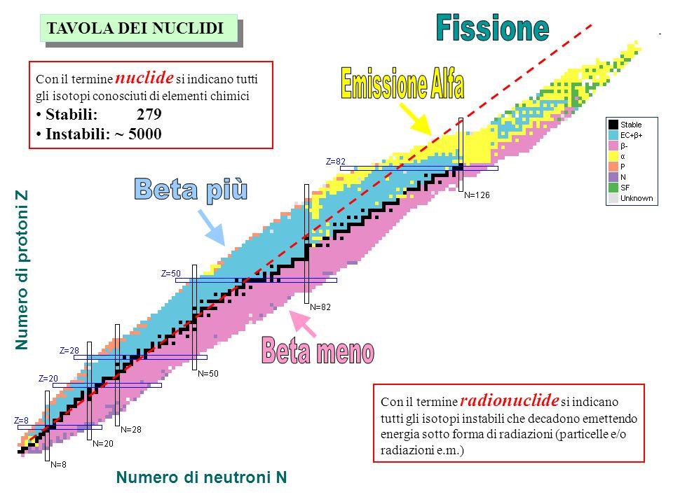 Numero di protoni Z Numero di neutroni N Con il termine nuclide si indicano tutti gli isotopi conosciuti di elementi chimici Stabili: 279 Instabili: ~