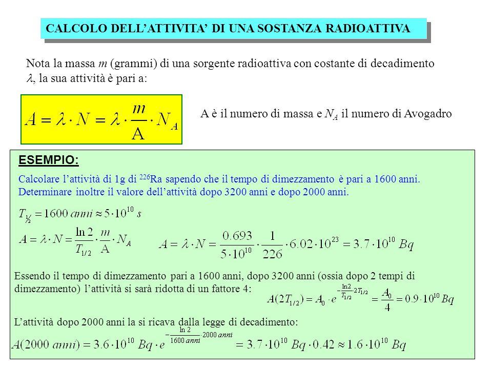 Nota la massa m (grammi) di una sorgente radioattiva con costante di decadimento, la sua attività è pari a: A è il numero di massa e N A il numero di