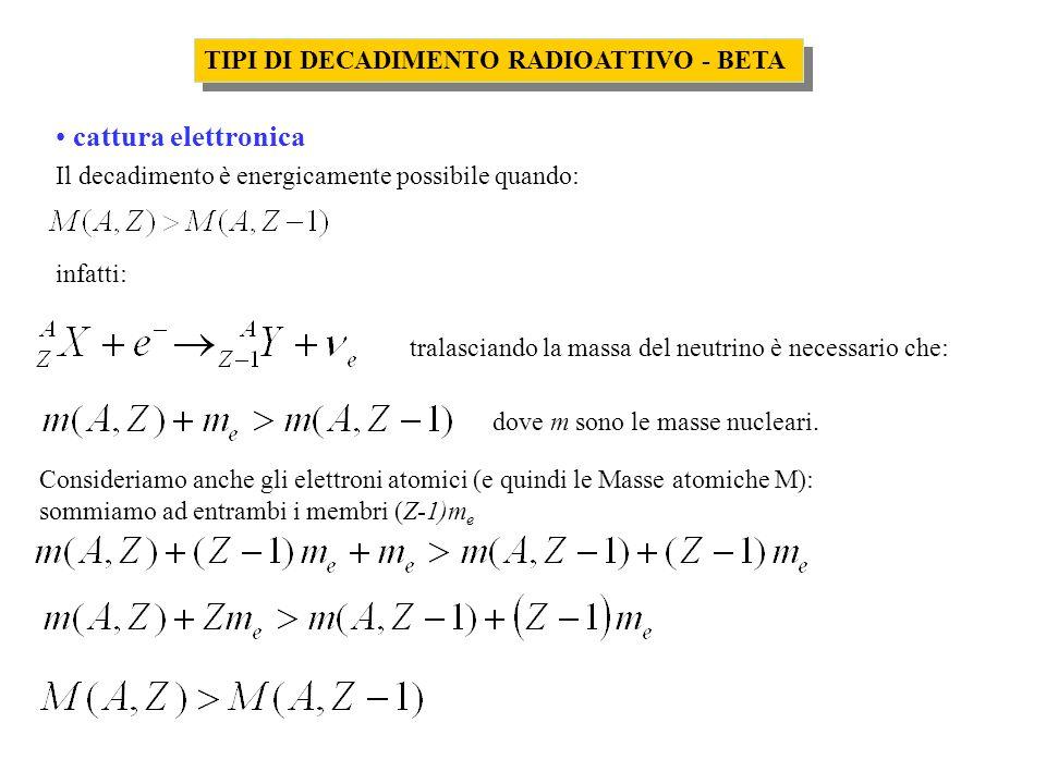 TIPI DI DECADIMENTO RADIOATTIVO - BETA cattura elettronica Il decadimento è energicamente possibile quando: infatti: tralasciando la massa del neutrin