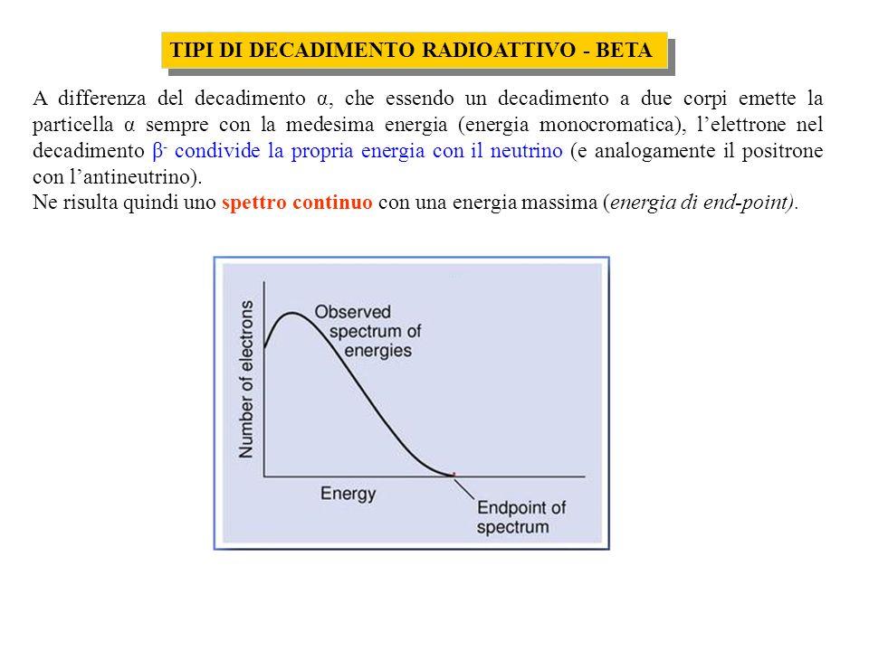 TIPI DI DECADIMENTO RADIOATTIVO - BETA A differenza del decadimento α, che essendo un decadimento a due corpi emette la particella α sempre con la med