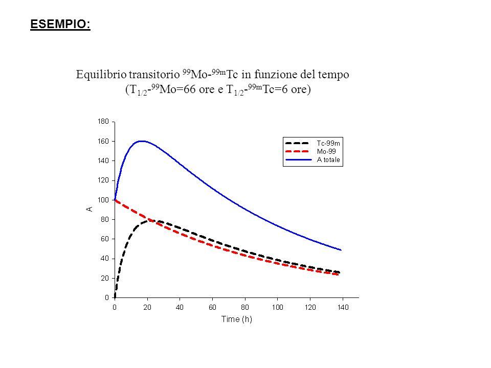 ESEMPIO: Equilibrio transitorio 99 Mo- 99m Tc in funzione del tempo (T 1/2 - 99 Mo=66 ore e T 1/2 - 99m Tc=6 ore)