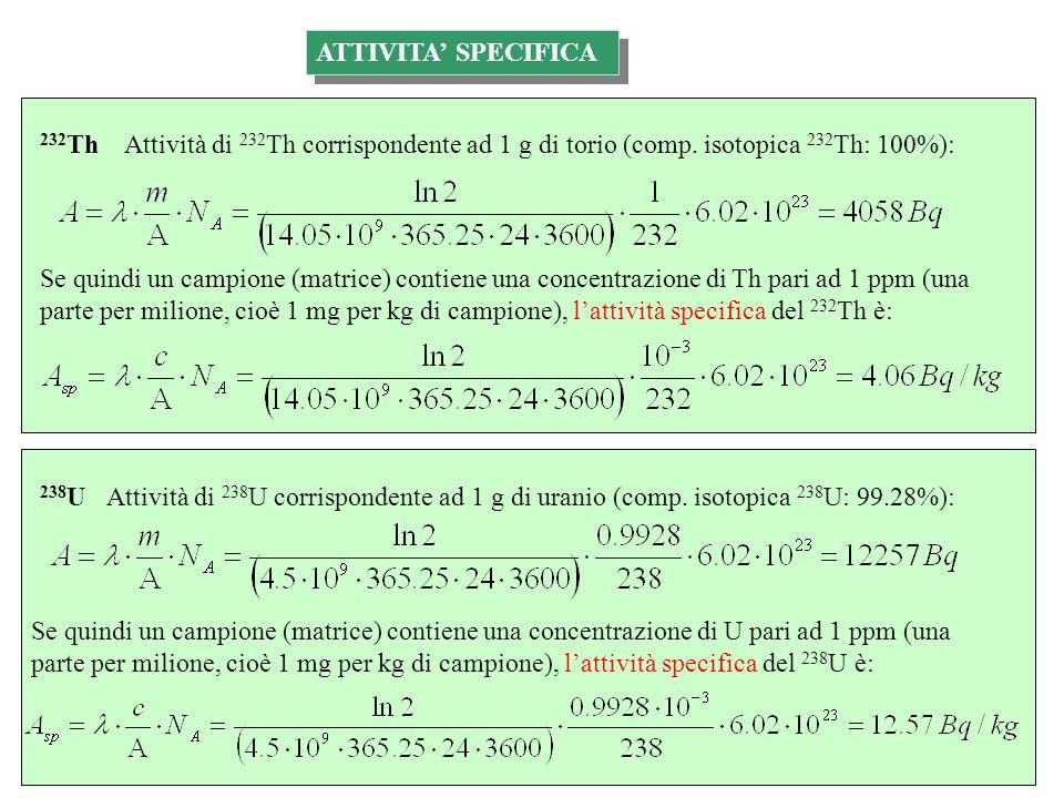 Attività di 232 Th corrispondente ad 1 g di torio (comp. isotopica 232 Th: 100%): Se quindi un campione (matrice) contiene una concentrazione di Th pa
