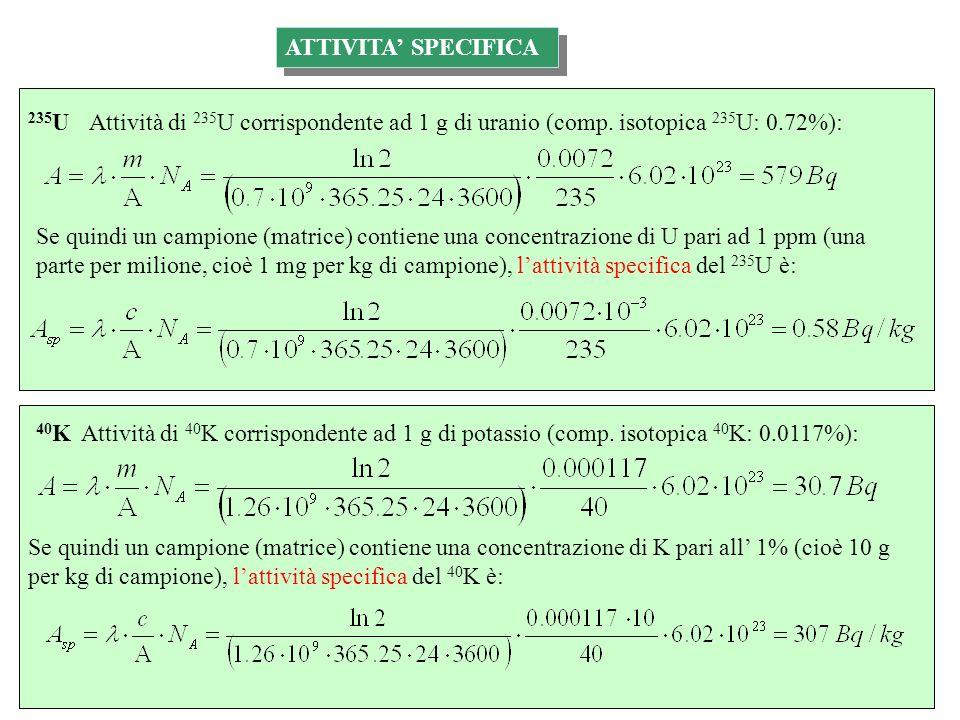 Attività di 235 U corrispondente ad 1 g di uranio (comp. isotopica 235 U: 0.72%): Se quindi un campione (matrice) contiene una concentrazione di U par