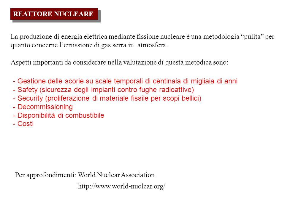 REATTORE NUCLEARE La produzione di energia elettrica mediante fissione nucleare è una metodologia pulita per quanto concerne lemissione di gas serra i