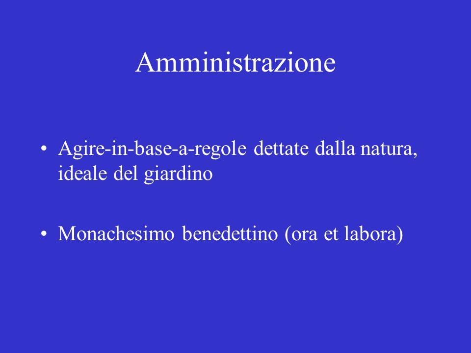 Amministrazione Agire-in-base-a-regole dettate dalla natura, ideale del giardino Monachesimo benedettino (ora et labora)