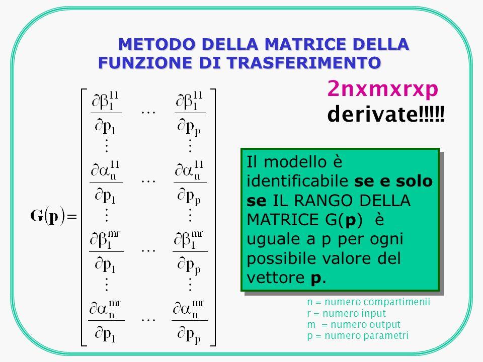 n = numero compartimenii r = numero input m = numero output p = numero parametri Il modello è identificabile se e solo se IL RANGO DELLA MATRICE G(p) è uguale a p per ogni possibile valore del vettore p.