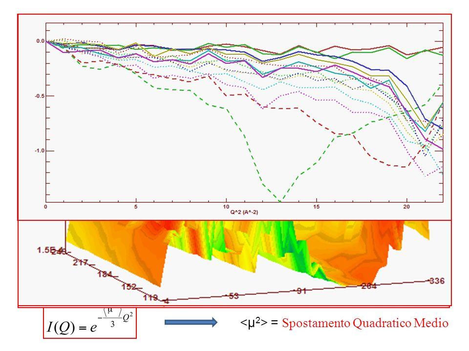 Analisi dati -Raggruppamento dei run acquisiti alle diverse temperature in ununica matrice -Normalizzazione di tutti i dati per il monitor -Sottrazione della cella vuota -Normalizzazione delle intensità per lo stesso campione ad un basso valore di T per eliminare eventuali problemi dei detector - Eventuale rimozione di alcuni detector -Conversione di in Q -Plot del LnI(Q) vs Q 2 -Fit a piccoli valori di Q in accordo con lapprossimazione gaussiana = Spostamento Quadratico Medio