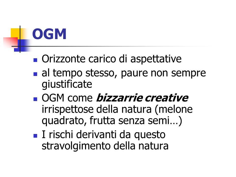 OGM Orizzonte carico di aspettative al tempo stesso, paure non sempre giustificate OGM come bizzarrie creative irrispettose della natura (melone quadrato, frutta senza semi…) I rischi derivanti da questo stravolgimento della natura
