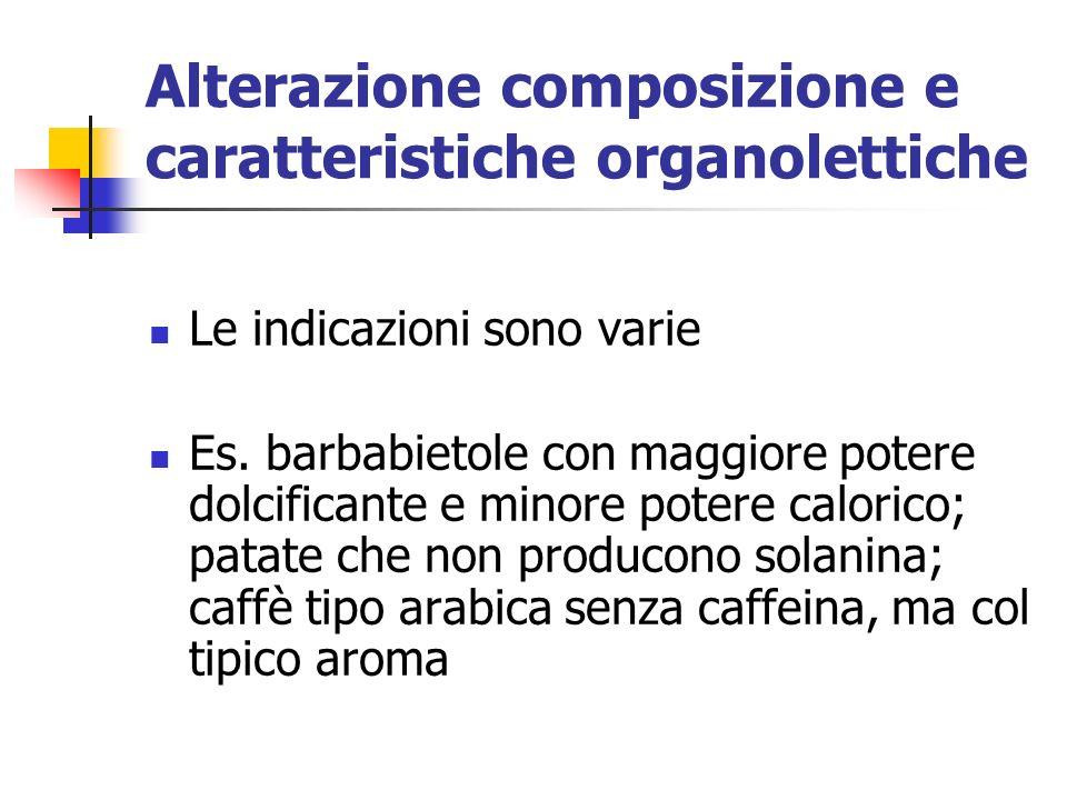 Alterazione composizione e caratteristiche organolettiche Le indicazioni sono varie Es.
