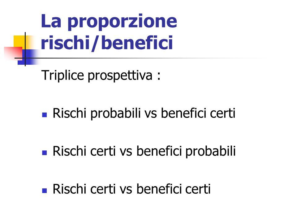 La proporzione rischi/benefici Triplice prospettiva : Rischi probabili vs benefici certi Rischi certi vs benefici probabili Rischi certi vs benefici certi