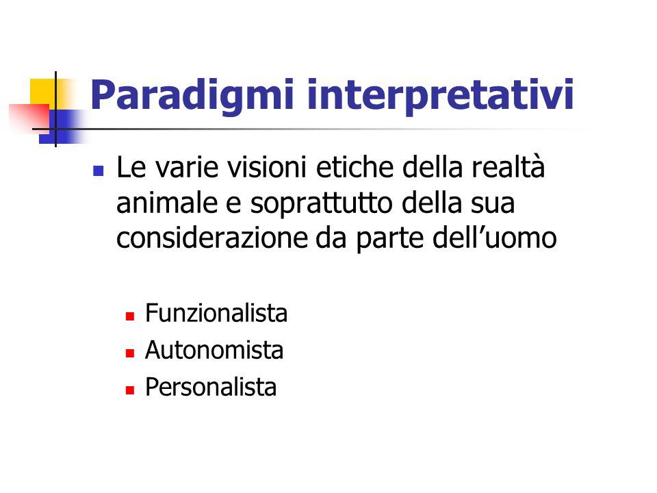 Paradigmi interpretativi Le varie visioni etiche della realtà animale e soprattutto della sua considerazione da parte delluomo Funzionalista Autonomista Personalista