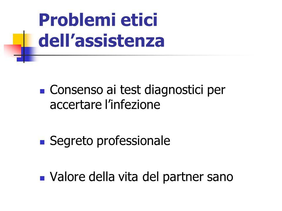 Problemi etici dellassistenza Consenso ai test diagnostici per accertare linfezione Segreto professionale Valore della vita del partner sano