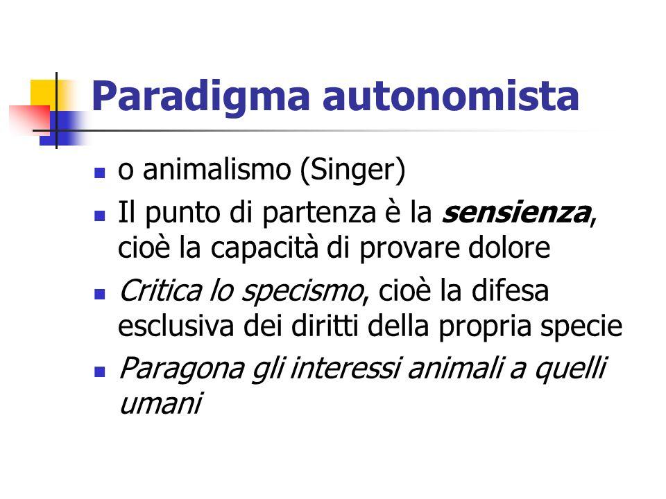 Paradigma autonomista o animalismo (Singer) Il punto di partenza è la sensienza, cioè la capacità di provare dolore Critica lo specismo, cioè la difesa esclusiva dei diritti della propria specie Paragona gli interessi animali a quelli umani