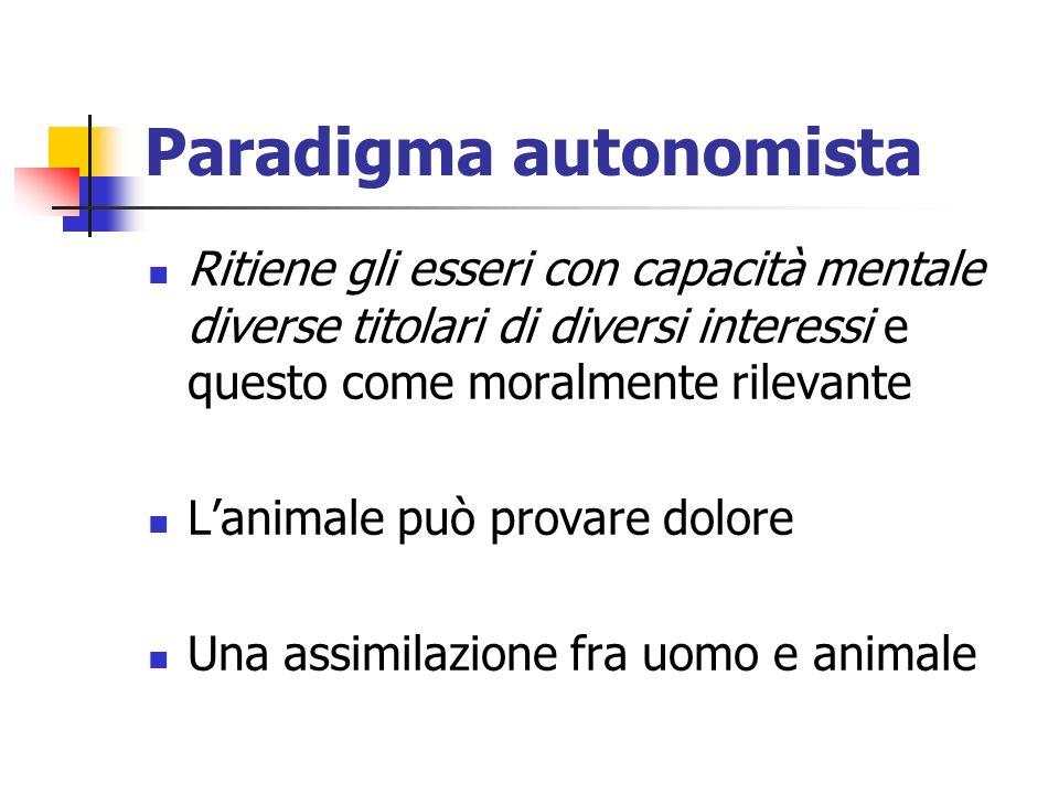 Paradigma autonomista Ritiene gli esseri con capacità mentale diverse titolari di diversi interessi e questo come moralmente rilevante Lanimale può provare dolore Una assimilazione fra uomo e animale