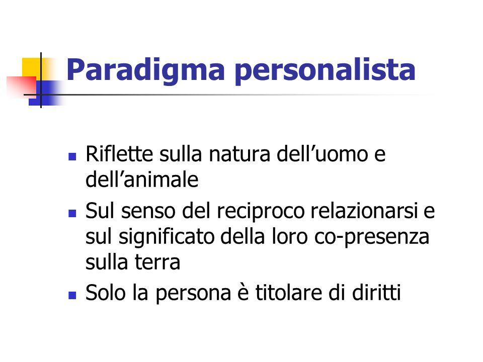 Paradigma personalista Riflette sulla natura delluomo e dellanimale Sul senso del reciproco relazionarsi e sul significato della loro co-presenza sulla terra Solo la persona è titolare di diritti