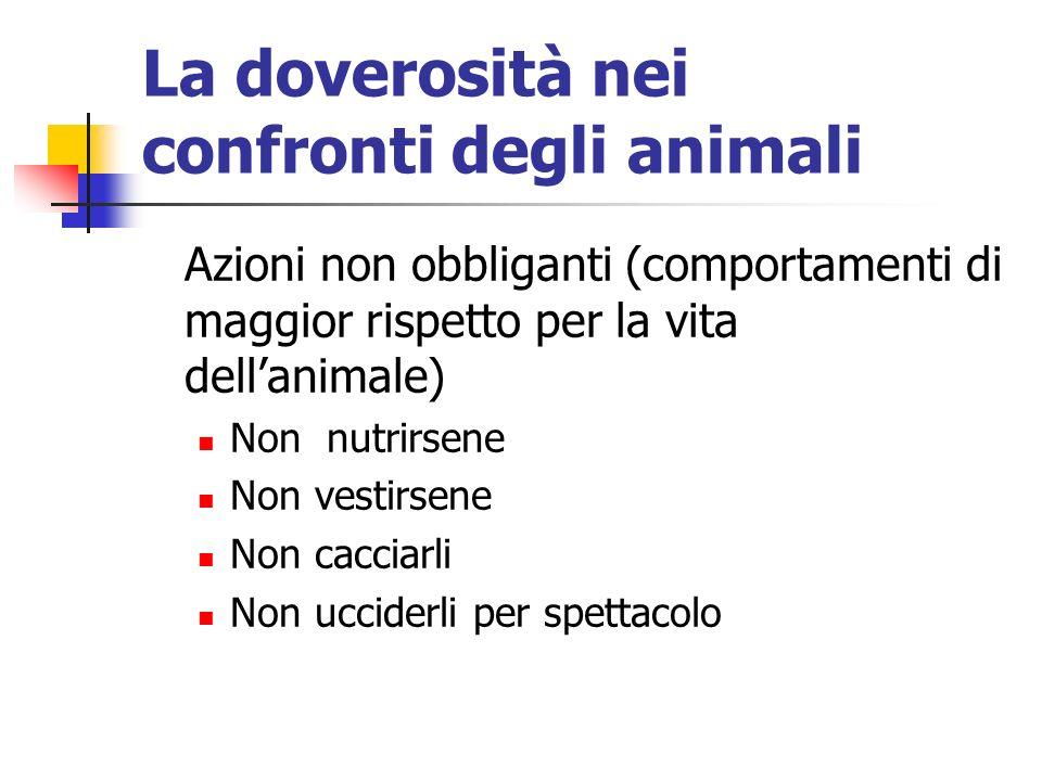 La doverosità nei confronti degli animali Azioni non obbliganti (comportamenti di maggior rispetto per la vita dellanimale) Non nutrirsene Non vestirsene Non cacciarli Non ucciderli per spettacolo