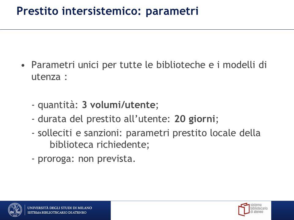 Prestito intersistemico: parametri Parametri unici per tutte le biblioteche e i modelli di utenza : - quantità: 3 volumi/utente; - durata del prestito