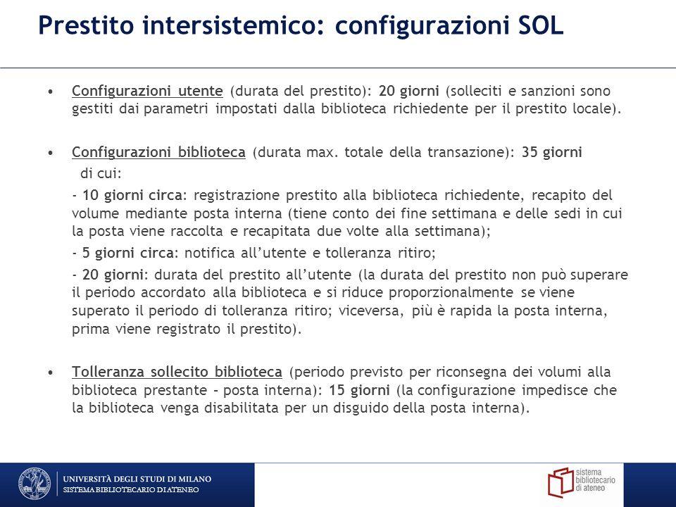 Prestito intersistemico: configurazioni SOL Configurazioni utente (durata del prestito): 20 giorni (solleciti e sanzioni sono gestiti dai parametri im