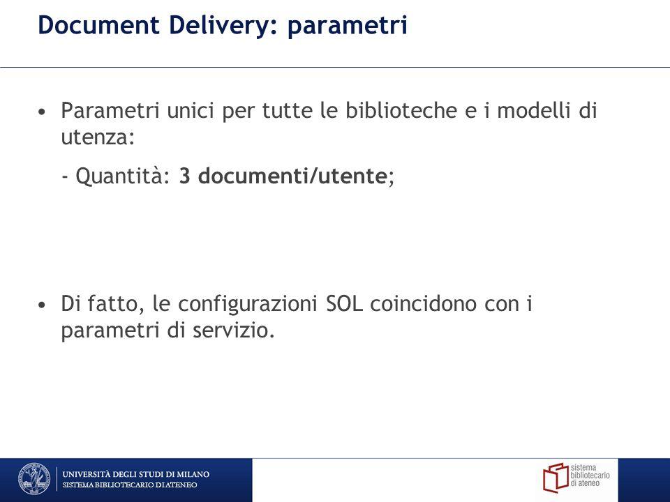 Document Delivery: parametri Parametri unici per tutte le biblioteche e i modelli di utenza: - Quantità: 3 documenti/utente; Di fatto, le configurazio