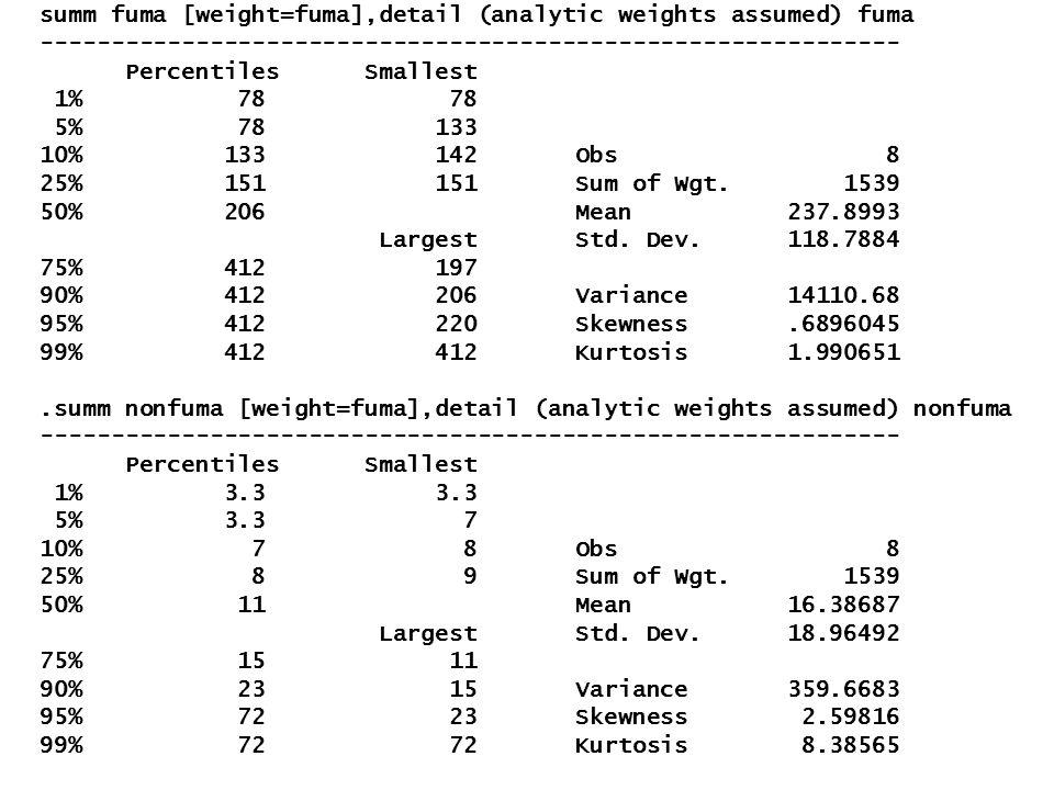summ fuma [weight=fuma],detail (analytic weights assumed) fuma ------------------------------------------------------------- Percentiles Smallest 1% 7