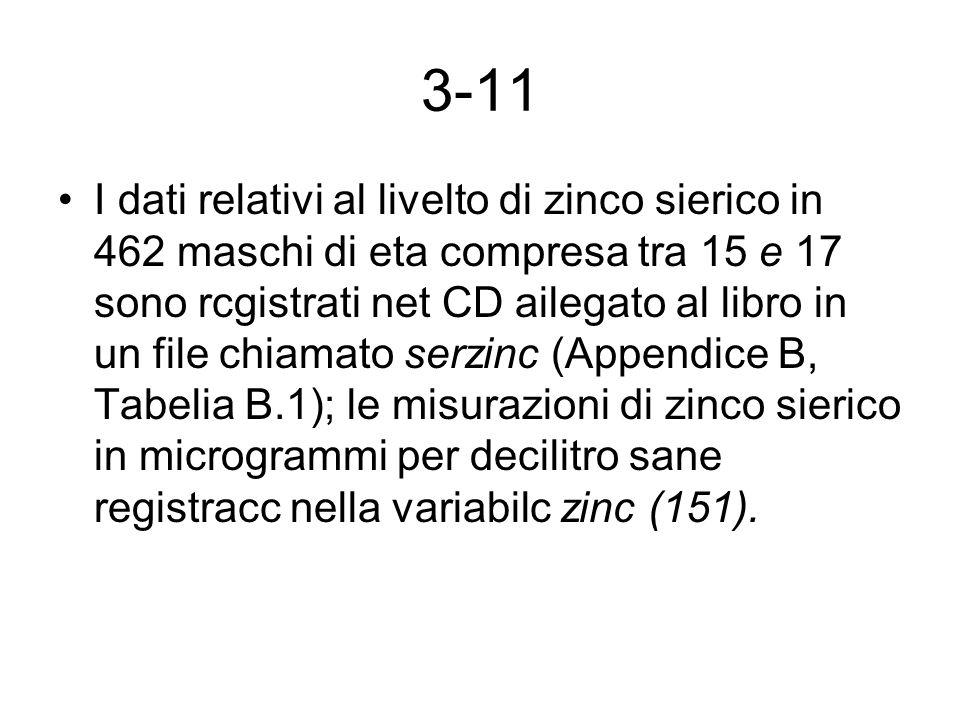 3-11 I dati relativi al livelto di zinco sierico in 462 maschi di eta compresa tra 15 e 17 sono rcgistrati net CD ailegato al libro in un file chiamat