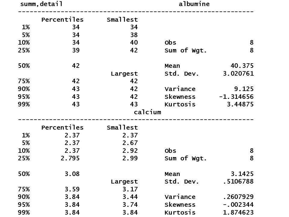 summ,detail albumine ------------------------------------------------------------- Percentiles Smallest 1% 34 34 5% 34 38 10% 34 40 Obs 8 25% 39 42 Su