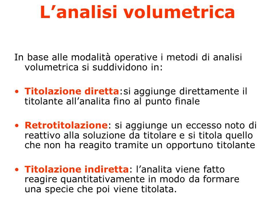 Lanalisi volumetrica Lanalisi volumetrica utilizza, come il nome suggerisce, volumi di soluzioni a concentrazione nota ed è un particolare tipo di ana
