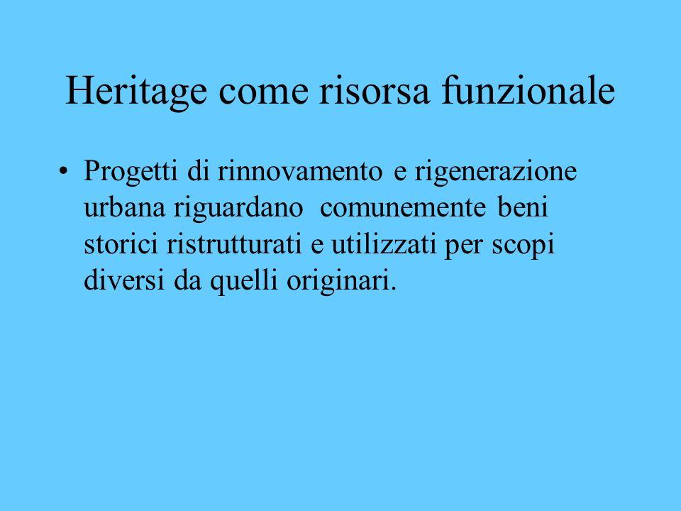 Heritage ed economia Le città europee forniscono sempre più numerosi esempi di piani di sviluppo turistico basati sulle attrazioni legate allheritage.