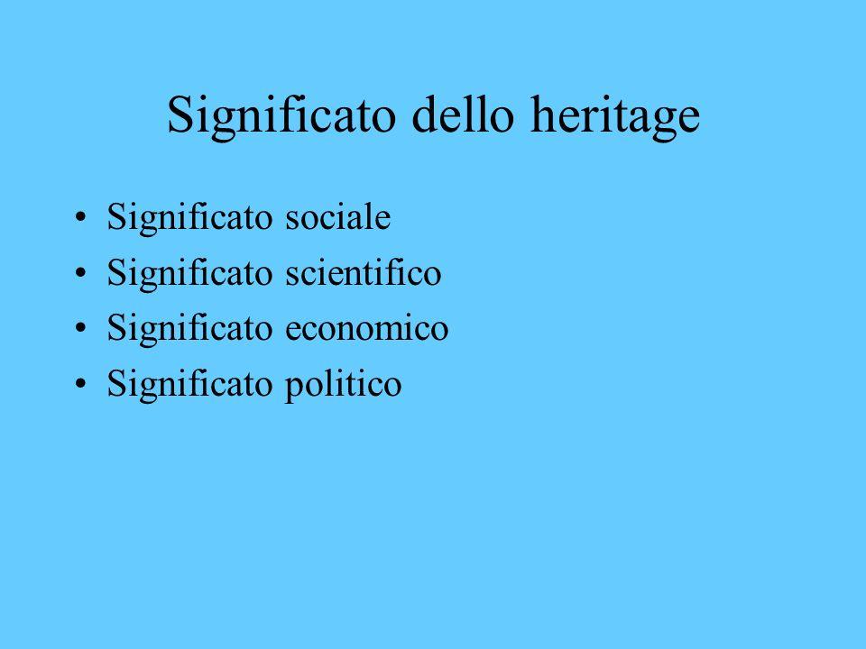 Heritage polisemico È considerato sinonimo di vestigia del passato È considerato il prodotto di un passato che influenza il presente E lintera produzi