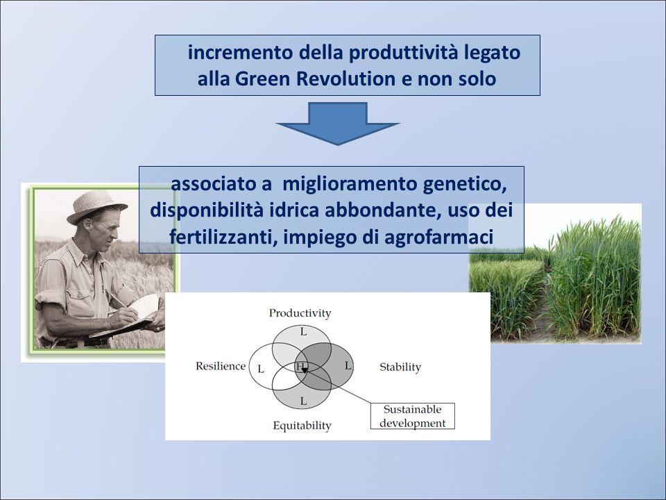 incremento della produttività legato alla Green Revolution e non solo associato a miglioramento genetico, disponibilità idrica abbondante, uso dei fer
