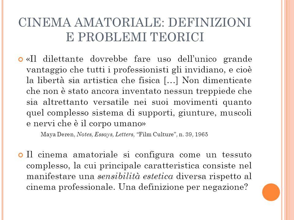 CINEMA AMATORIALE: DEFINIZIONI E PROBLEMI TEORICI Lamatorialità delinea dinamiche di relazione tra un soggetto-osservatore e un oggetto-osservato Le strutture intenzionali sono motivate da due fattori: 1.