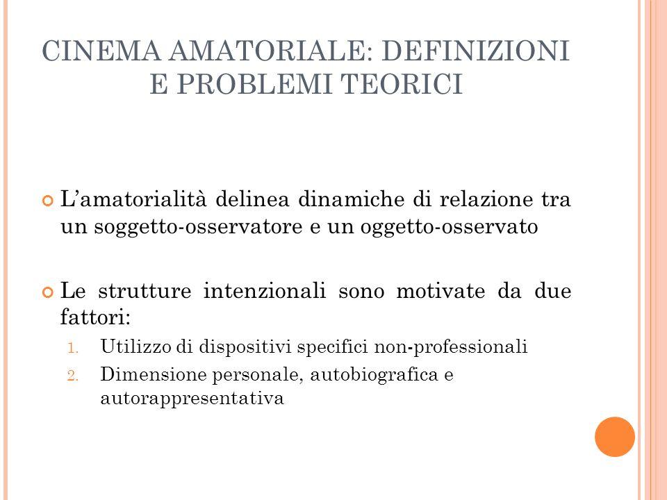 CINEMA AMATORIALE: DEFINIZIONI E PROBLEMI TEORICI Lamatorialità delinea dinamiche di relazione tra un soggetto-osservatore e un oggetto-osservato Le s