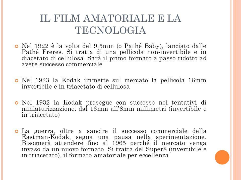 IL FILM AMATORIALE E LA TECNOLOGIA Nel 1922 è la volta del 9,5mm (o Pathé Baby), lanciato dalle Pathé Freres. Si tratta di una pellicola non-invertibi