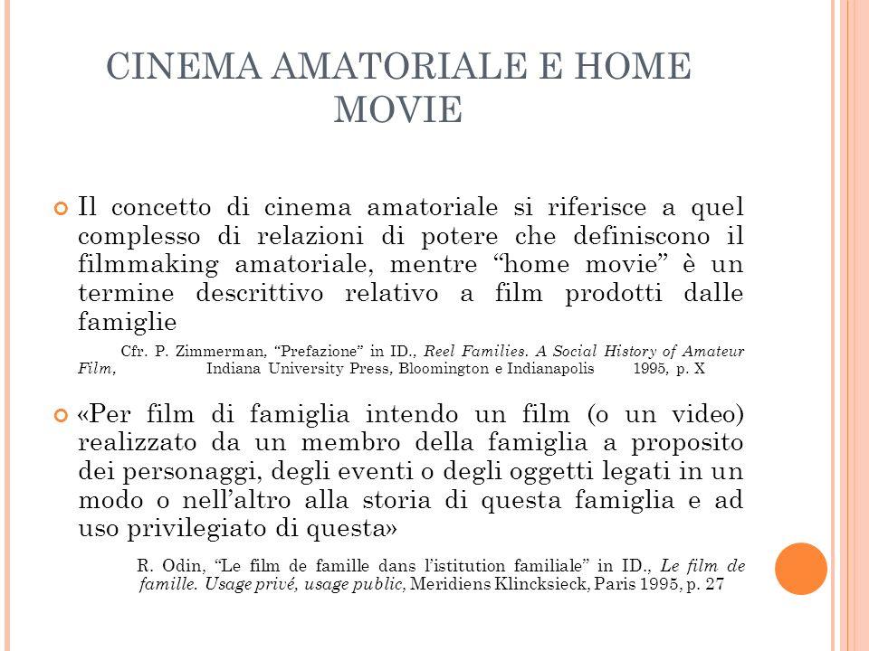 CINEMA AMATORIALE E HOME MOVIE Il concetto di cinema amatoriale si riferisce a quel complesso di relazioni di potere che definiscono il filmmaking ama