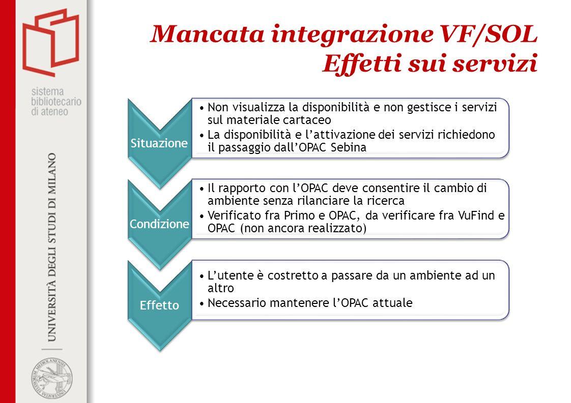 Mancata integrazione VF/SOL Effetti sui servizi Situazione Non visualizza la disponibilità e non gestisce i servizi sul materiale cartaceo La disponib