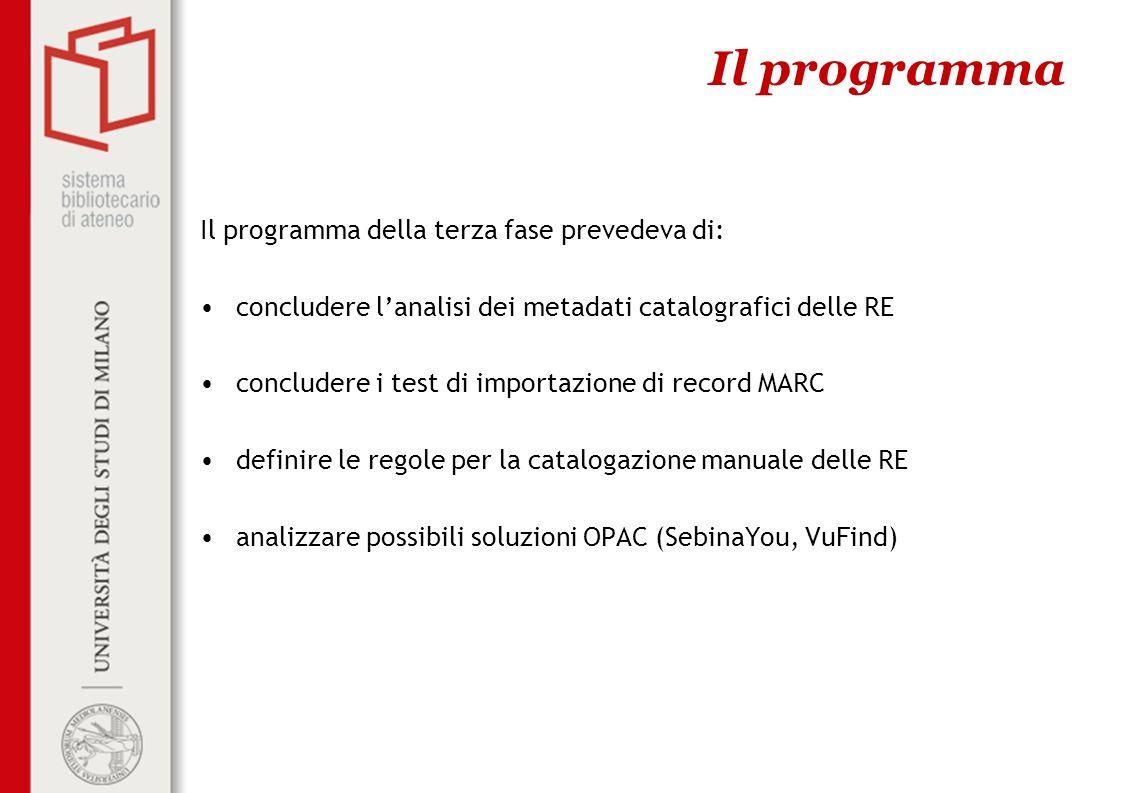 Il programma della terza fase prevedeva di: concludere lanalisi dei metadati catalografici delle RE concludere i test di importazione di record MARC d